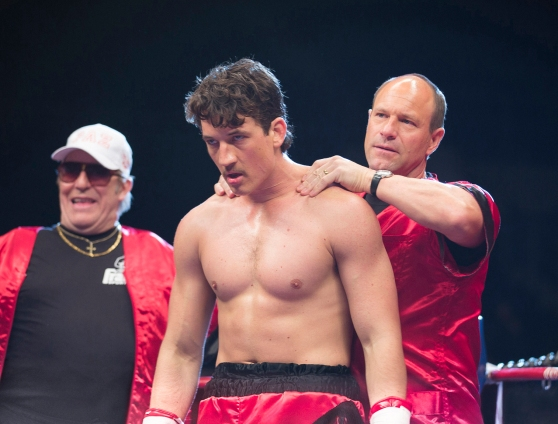Ciaran Hinds, Miles Teller and Aaron Eckhart in BLEED FOR THIS